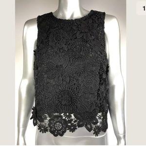 Topshop Crop Top Black Boho Floral Embroidery 6